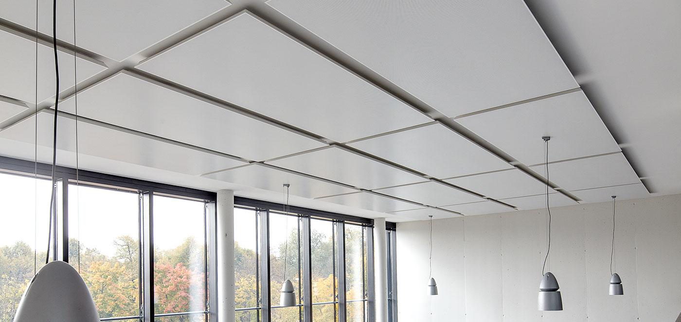 Hybridní - Chladící a topné podhledy, osvědčené topné a chladící technologie, akusticky účinné topné a chladící stropy.