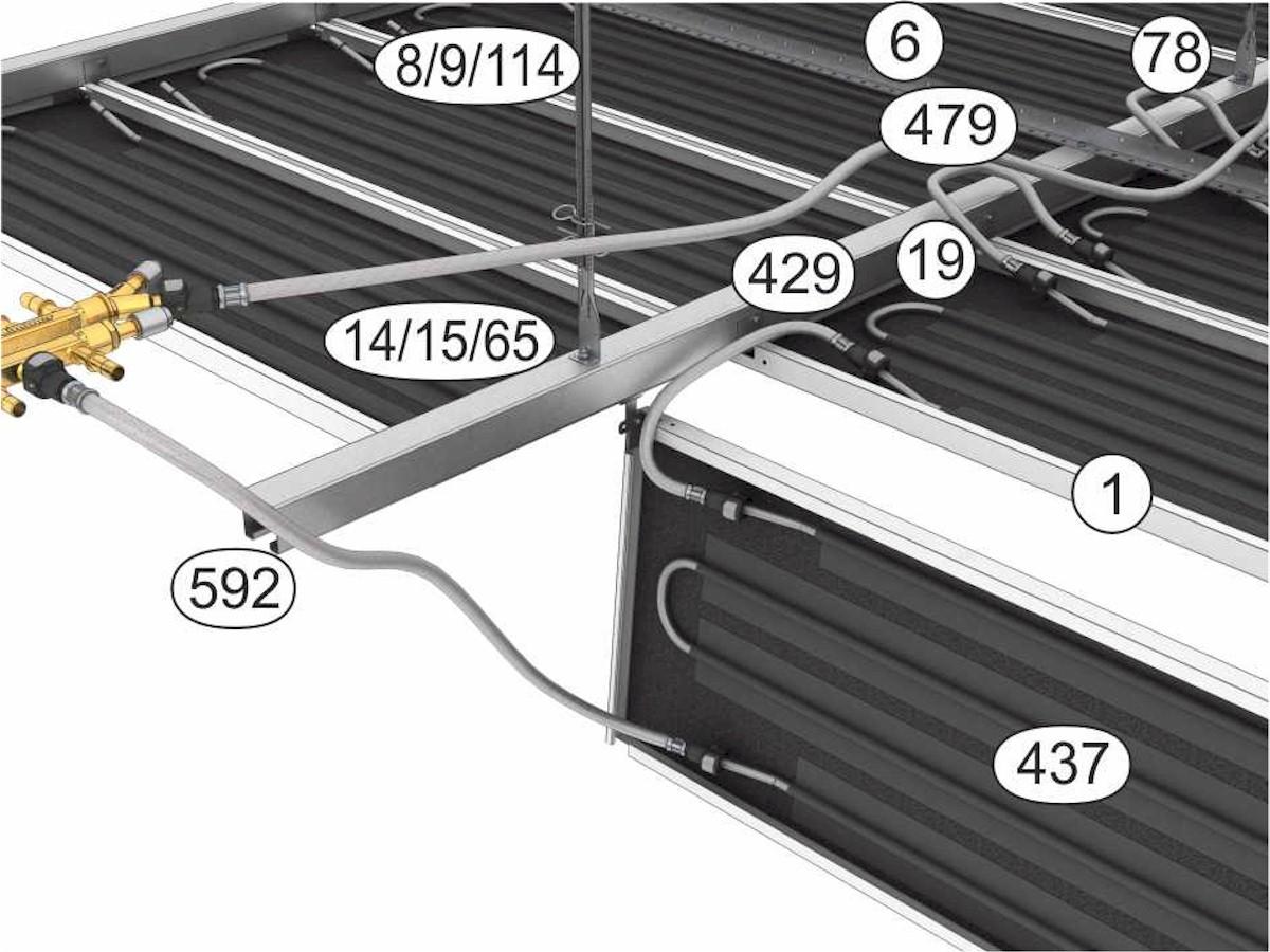 Topný a chladící podhled Plafotherm® E 213 - komponenty